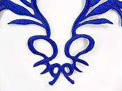 GB113 Embroidered Applique Blue Metallic Iron On Patch 5.5""