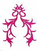 """GB113 Embroidered Applique Fuchsia Metallic Iron On Patch 5.5"""""""