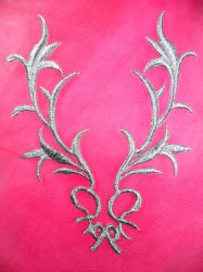 GB113 Embroidered Applique Silver Metallic Iron On Patch 5.5""