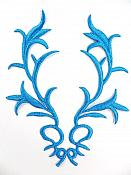 GB113 Embroidered Applique Turquoise Metallic Iron On Patch 5.5""