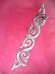"""GB114 Silver Applique Iron On Patch 9.25"""""""