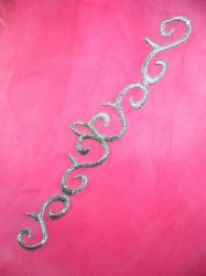 """GB107 Embroidered Applique Silver Scroll Metallic Iron On Patch 7"""""""