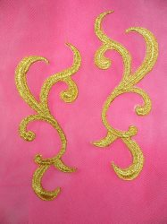 """GB117 Embroidered Applique MIRROR PAIR Gold Metallic Iron On Patch 4"""""""