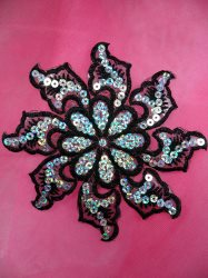 """GB119 Black Embroidered Flower Silver AB Sequin Applique 5.25"""""""