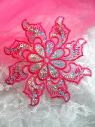 GB119 Fuchsia Embroidered Flower Silver AB Sequin Applique 5.25""