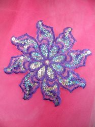 GB119 Lavender Embroidered Flower Silver AB Sequin Applique 5.25""