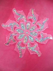 GB119 Pink Embroidered Flower Silver AB Sequin Applique 5.25""