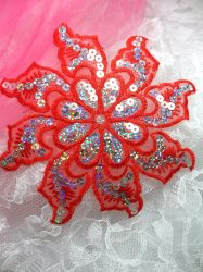 GB119 Red Embroidered Flower Silver AB Sequin Applique 5.25""