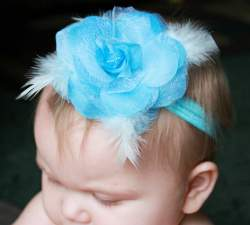 GB12 Feather Rose Flower Headband 7 Colors Available