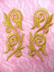 GB120 Embroidered Applique Mirror Pair Gold Metallic Iron On Patch 5.25""