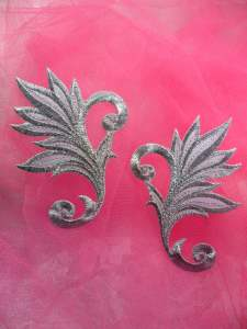 GB122 Mirror Pair Embroidered Applique Silver Metallic Iron On Patch 3.75""