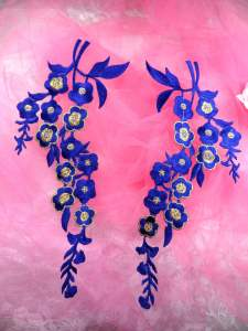 GB124X Blue Gold Embroidered Floral Mirror Pair Appliques 10""