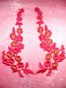 """GB124 Fuschia Gold Embroidered Floral Mirror Pair Appliques 10"""""""