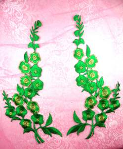 """GB124 Green Gold Embroidered Floral Mirror Pair Appliques 10"""""""