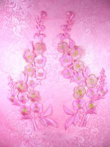 OSGB124 Pink Gold Embroidered Floral (left side only) Applique 10""
