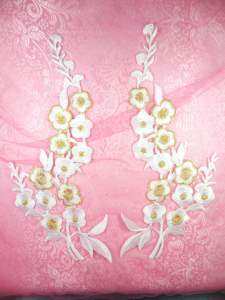 """GB124 White Gold Embroidered Floral Mirror Pair Appliques 10"""""""