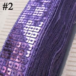 "GB128 Lavender Sequin Sewing Craft Trim 5 Row 1"""
