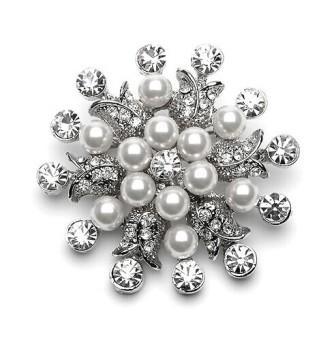 """GB130  Bridal Rhinestone Brooch Pin Vintage Silver Crystal Glass 1.5"""""""