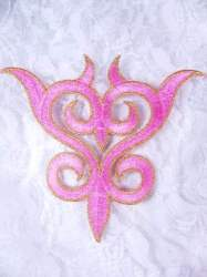 GB131 Embroidered Applique Pink Gold Metallic Iron On Patch 4""