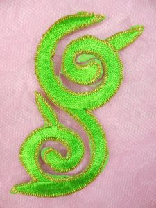 GB132 Embroidered Applique Green Gold Metallic Iron On Patch 4""