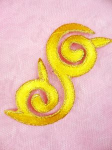 GB132 Embroidered Applique Yellow Gold Metallic Iron On Patch 4""