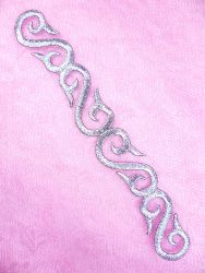"""GB133 Embroidered Applique Silver Scroll Metallic Iron On Patch 7"""""""