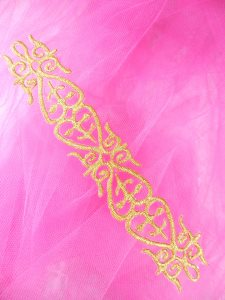 """GB134 Gold Metallic Embroidered Applique Iron On Patch 7"""""""
