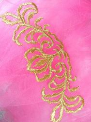 """GB135 Gold Metallic Embroidered Applique Iron On Patch 6"""""""
