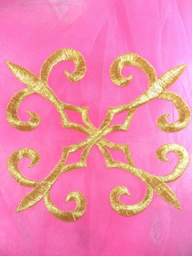 GB136 Warrior Gold Metallic Embroidered Applique Iron On Patch 6.25""