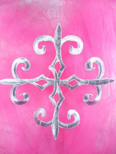 GB136 Warrior Silver Metallic Embroidered Applique Iron On Patch 6.25""