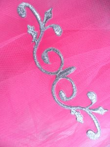 GB137 Silver Scroll Metallic Applique Iron On Patch 4.25""