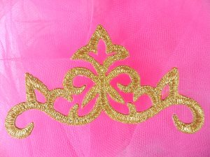GB138 Gold Scroll Metallic Applique Iron On Patch 3.75""