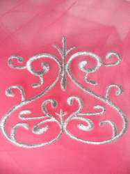 GB141 Embroidered Applique Silver Metallic Iron On Patch 4""