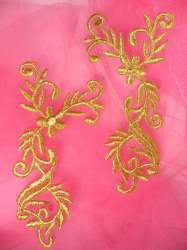 """GB142 Embroidered Applique Mirror Pair Gold Metallic Iron On Patch 5"""""""