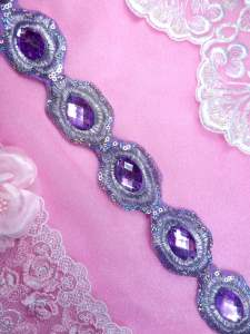 """REDUCED Lavender Silver Metallic Embroidered Jewel Trim Iron On 1.5"""" GB143"""