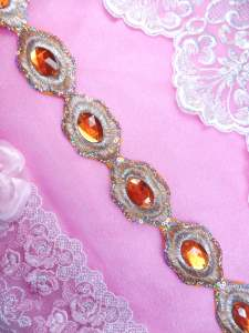 "REDUCED Orange Silver Metallic Embroidered Jewel Trim Iron On 1.5"" GB143"