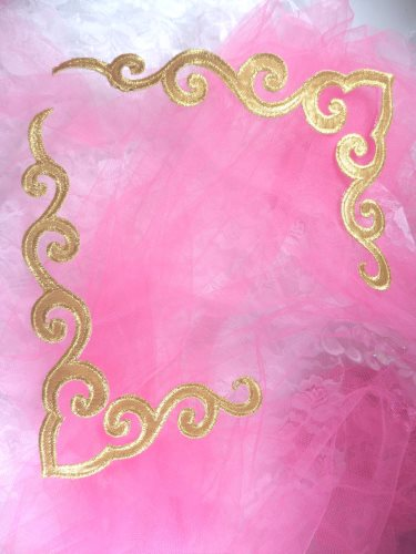 GB153 Iron On Gold Metallic Mirror Pair Scroll Embroidered Appliques 7""