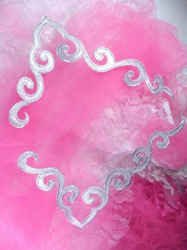"""GB153 Iron On Silver Metallic Mirror Pair Scroll Embroidered Appliques 7"""""""