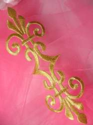 """GB154 Embroidered Applique Gold Metallic Iron On Patch 7"""""""