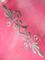 """GB154 Embroidered Applique Silver Metallic Iron On Patch 7"""""""