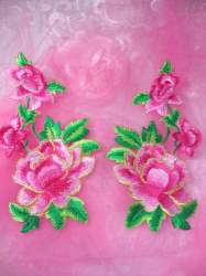 GB156 Pink Rose Mirror Pair Embroidered Appliques 6""