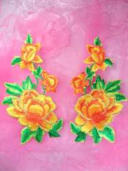 GB156 Yellow Orange Rose Mirror Pair Embroidered Appliques 6""