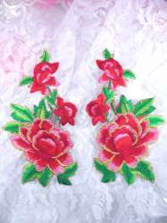 GB156 Red Gold Rose Mirror Pair Embroidered Appliques 6""