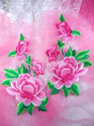"""GB157 Large Pink Rose Mirror Pair Embroidered Appliques 9.5"""""""