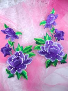 GB157 Large Purple Rose Mirror Pair Embroidered Appliques 9.5""