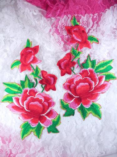 GB157 Large Red Rose Mirror Pair Embroidered Appliques 9.5""