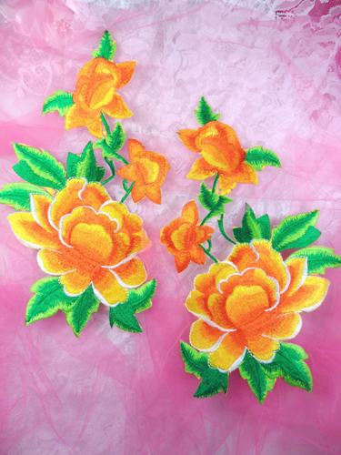 GB157 Large Yellow Rose Mirror Pair Embroidered Appliques 9.5""