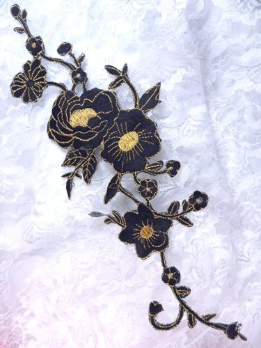 GB158 Black Gold Metallic Rose Embroidered Applique Iron On Patch 10""