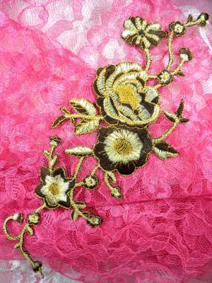 """GB158 Brown Gold Metallic Rose Embroidered Applique Iron On Patch 10"""""""