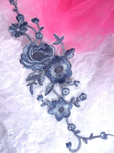 GB158 Denim Gray Silver Metallic Rose Embroidered Applique Iron On Patch 10""